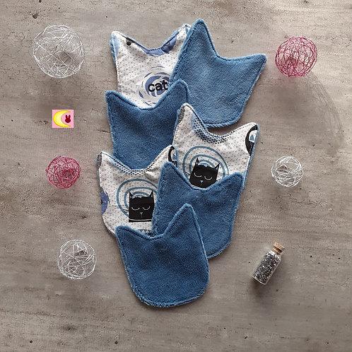 Lot de 7 lingettes Petit chat bleu zero déchet bébé nettoyantes démaquillantes