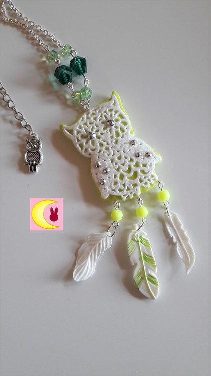 Collier Sautoir Attrape-rêves Green Owl en porcelaine froide