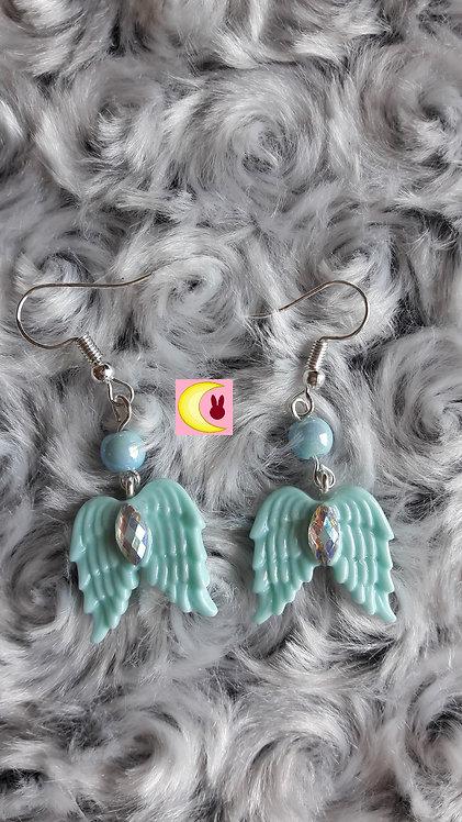Boucles d'oreilles Aqua Angel Ailes d'ange bleu turquoise en porcelaine froide