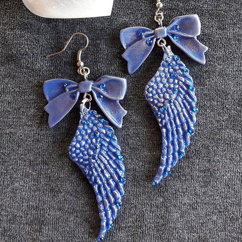 Boucles d'oreilles Ribbon Angel Maxi Ailes d'ange bleu reflet bronze porcelaine