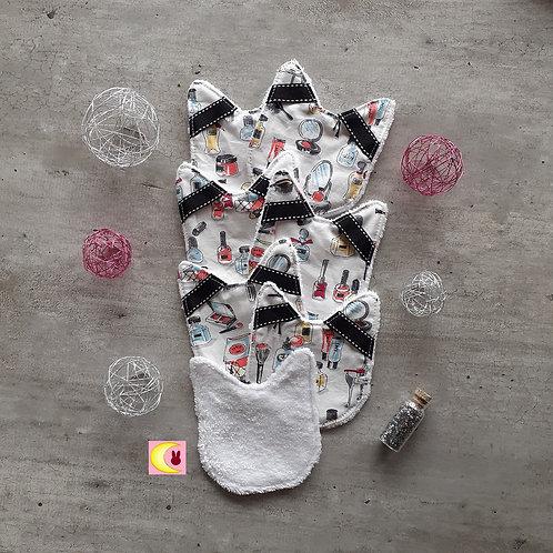 Semainier de 7 lingettes Beauty zéro déchet lavables fait main chat avec passant