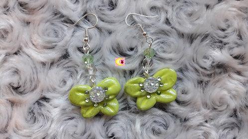 Boucles d'oreilles Green Ribbon porcelaine froide métal argenté nature féérique