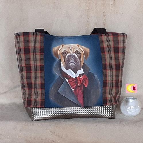 sac porté épaule tartan écossais et chien boxer dandy de face