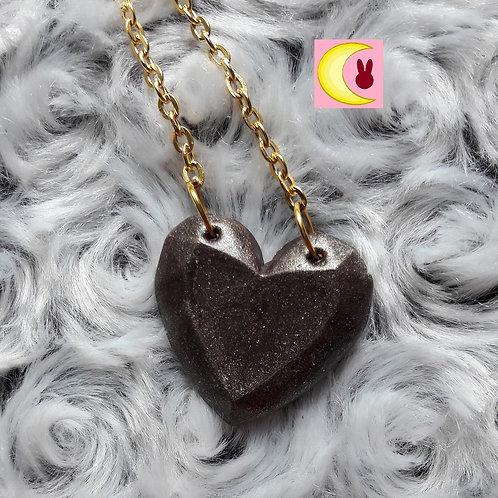 Collier Copper Heart coeur couleur bronze en porcelaine froide