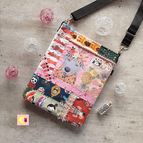 sac collection pat'chien Django grey fait main patchwork de tissus japonais