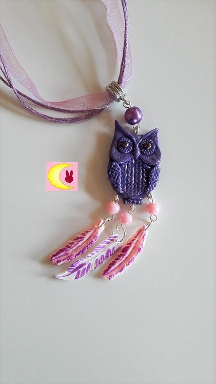 Collier Attrape-rêves Purple Owl en porcelaine froide