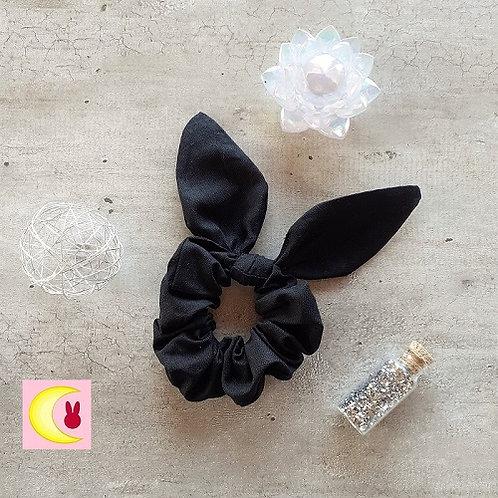chouchou élastique noir avec oreilles de lapins noir pour cheveux