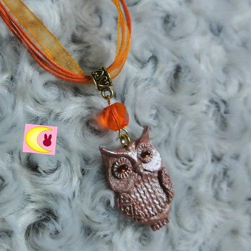 Collier Copper Owl en porcelaine froide