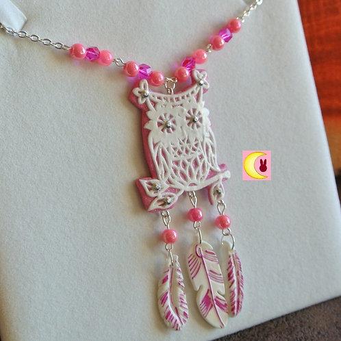 Collier Sautoir Attrape-rêves Pink Owl en porcelaine froide