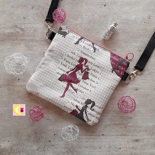 petit sac en bandoulière shopping addict vue de haut