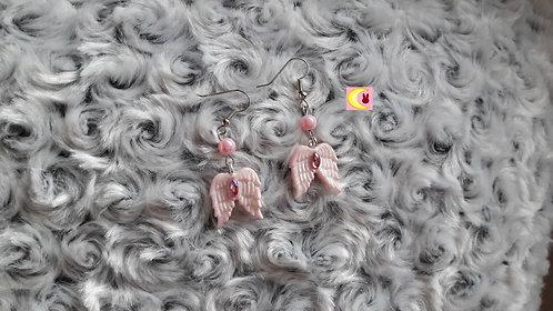 Boucles d'oreilles White Wings Ailes d'ange blanche et rose nacré en porcelaine