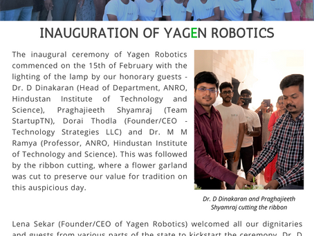 Yagen Robotics Inauguration News Letter