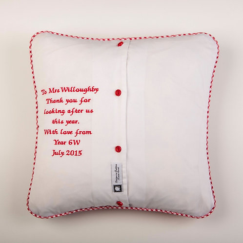 Personalised message on back of cushion