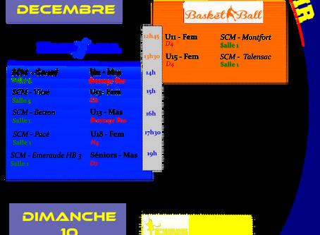 Agenda Sportif SCM du WE du 09/12