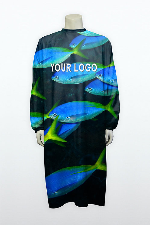Blouse unconventional blue fish