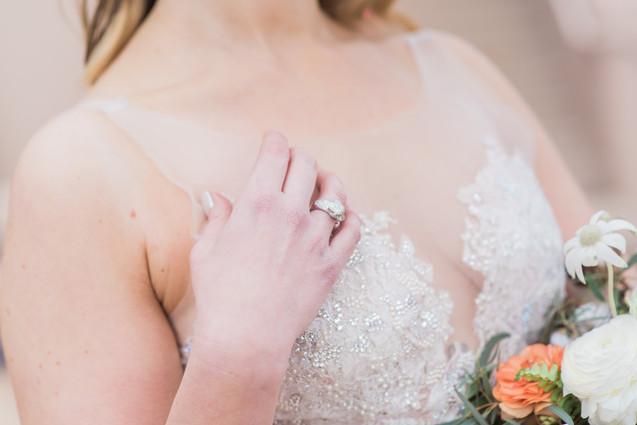 Close up of brides wedding ring