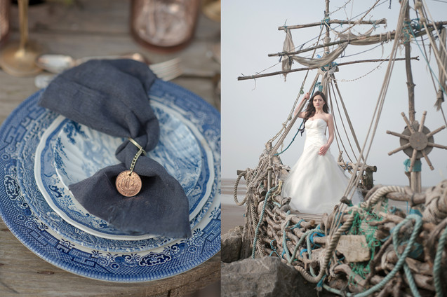 nautical british beach wedding with shipwreck