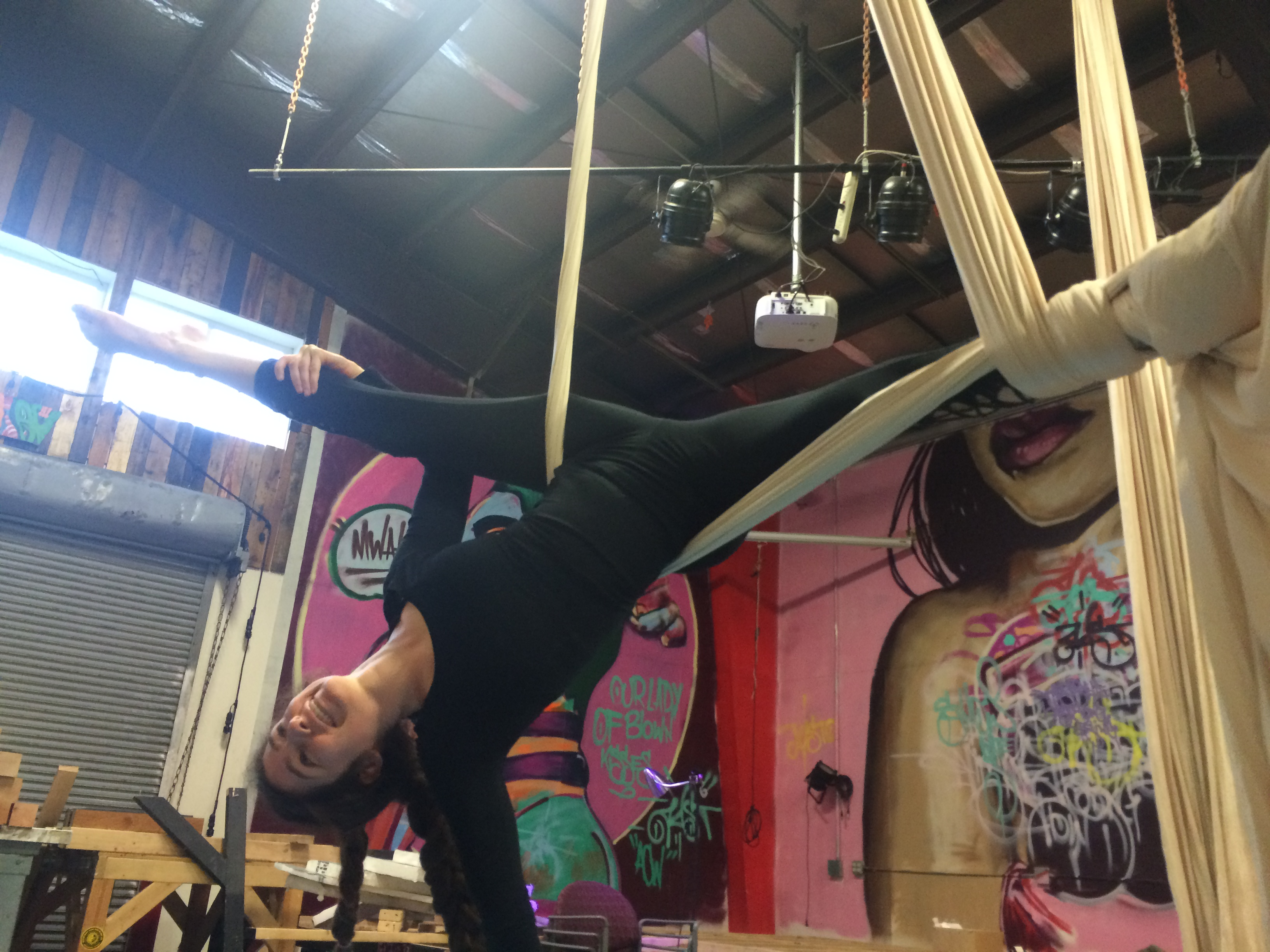 Inverted split in Aerial Silks