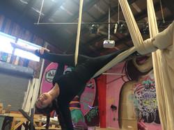 Inverted split in Aerial Silks