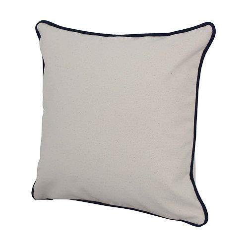 Natural Pillow w/ Navy Piping