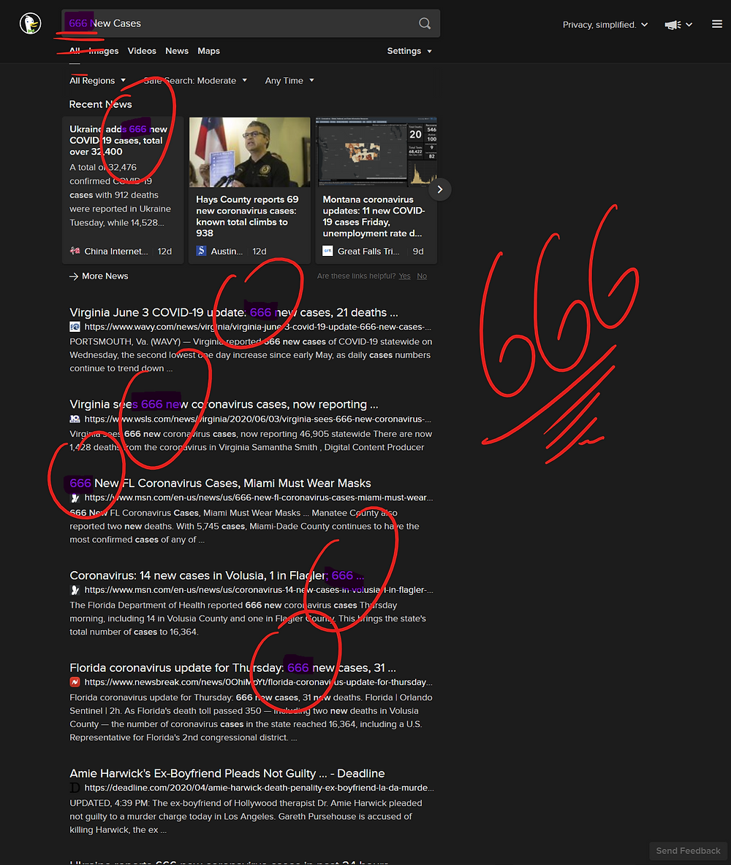 666 New Reported Cases in DuckDuckGo