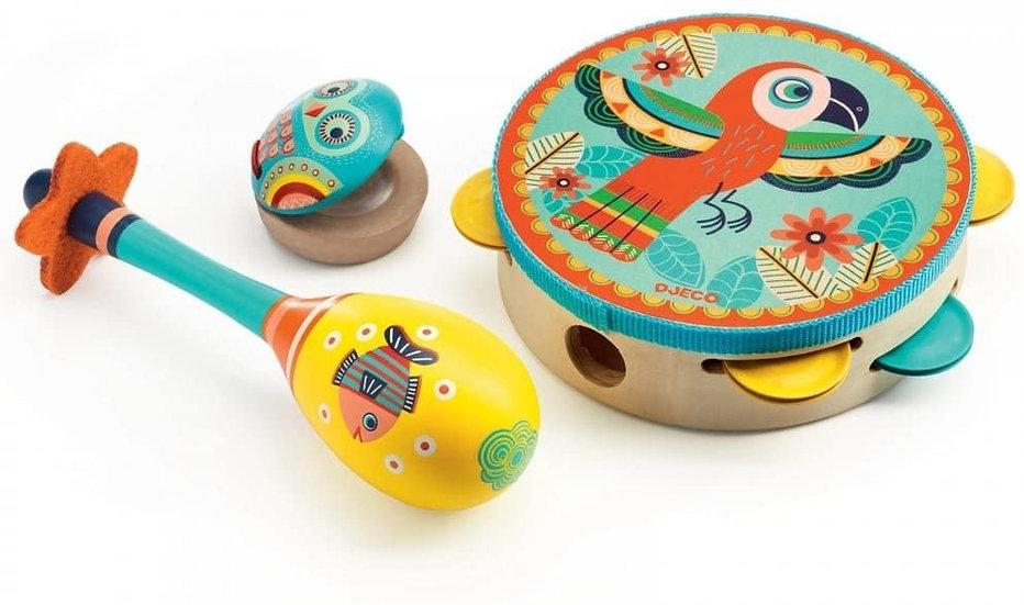DJ06016 Set of 3 Instruments:Tambourine/Maracas/Castanet