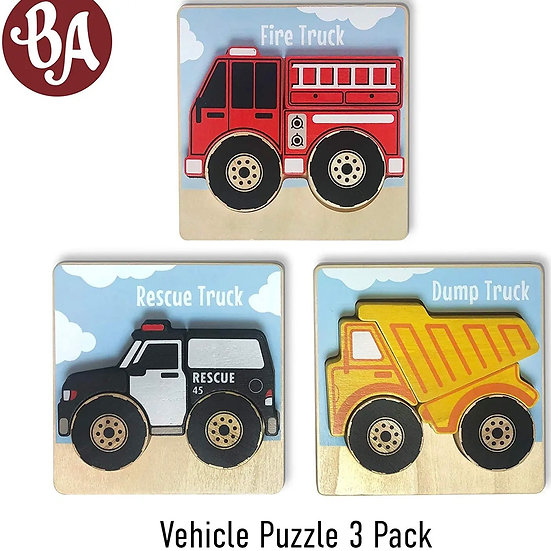 BeginAgain Vehicles Puzzles 3-Pack - Chunky Pieces 5 piece Puzzles