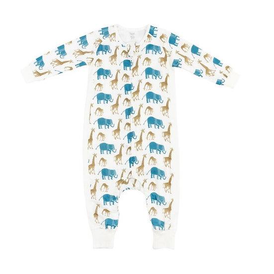 Nest Designs 0.6 Tog Bamboo Long Sleeve Sleep Suit Zoo Buddy