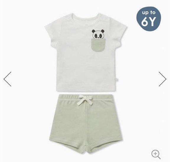 Mori Summer Panda Pocket Pajamas Set