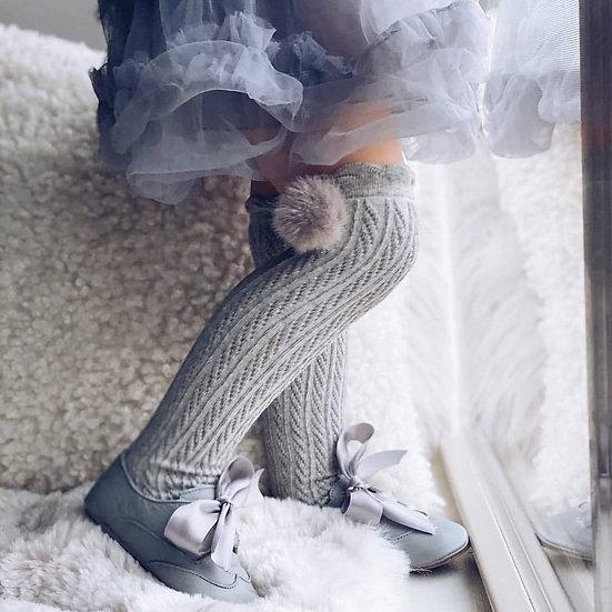 High Knee Socks With Poms