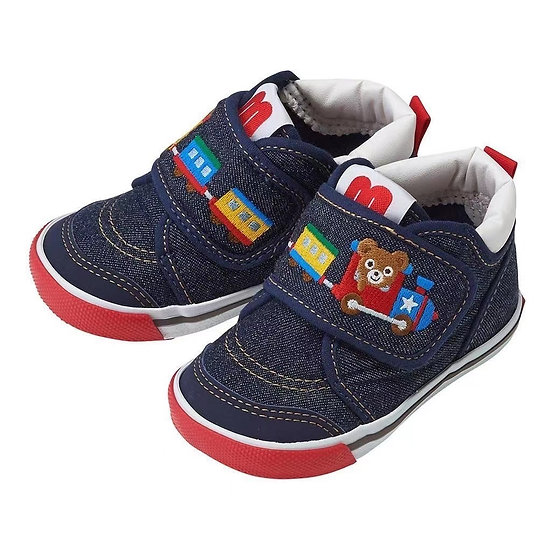 Mikihouse Bear & Train Shoes Indigo