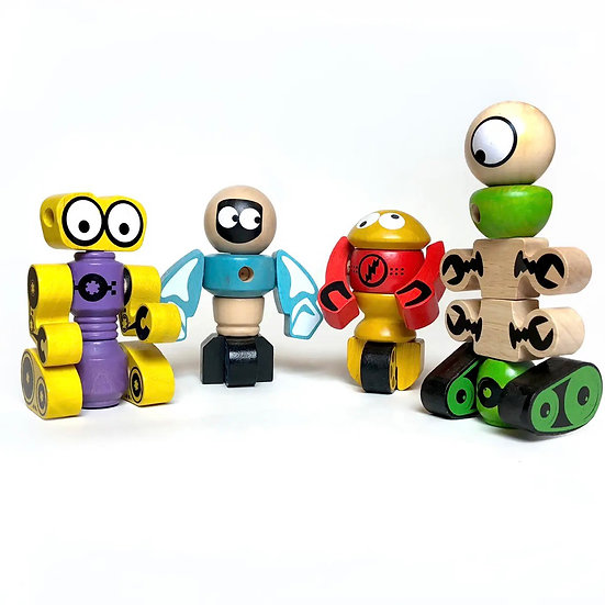BeginAgain Tinker Totter Robots - 28 Piece Character Playset