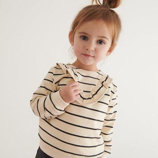 Mori Panda Striped Frilled Sweatershirt