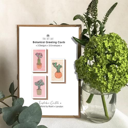 I'm the 1st set of Botanical Greeting Cards