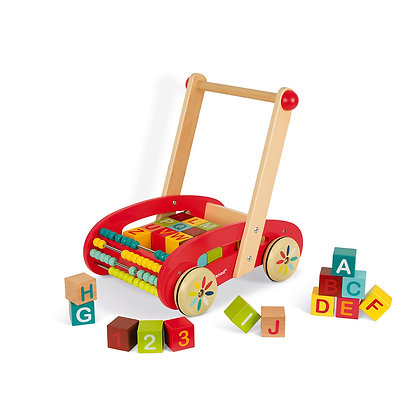 Abc Buggy Cart 30 Wooden Blocks (Janod J05379)
