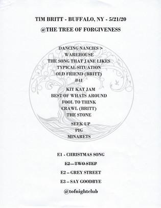 Tim Britt Setlist - May 21 2020
