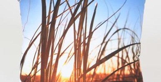 Sea Grass Sunrise Square Pillow