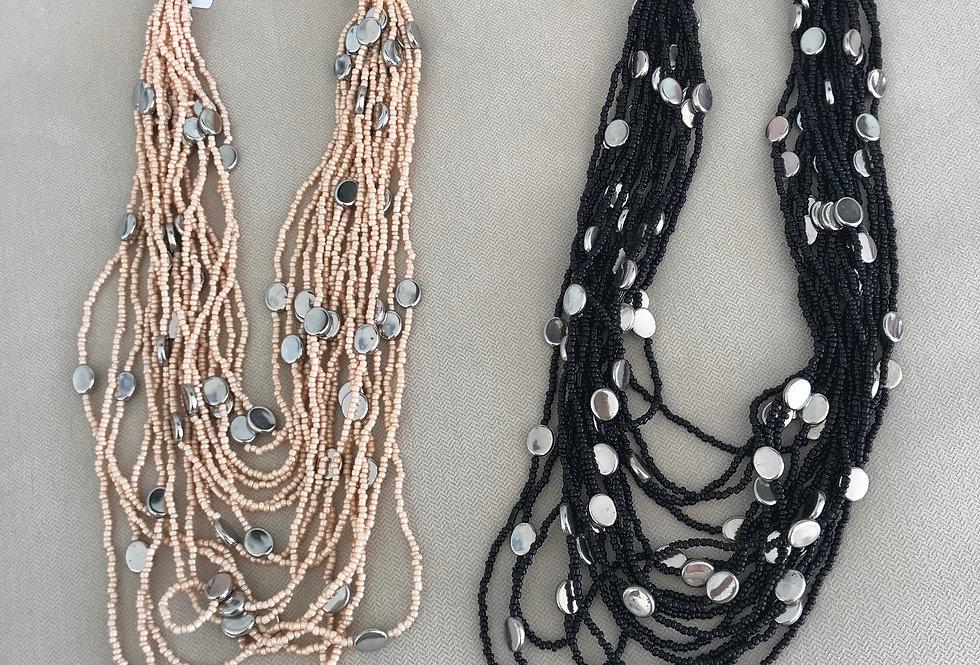 Silver Coin Bead Necklace