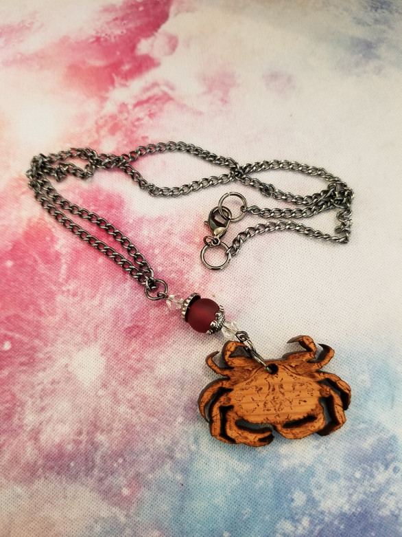 Crab Pendant w/Beads & Chain