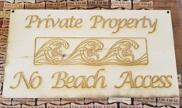 Seahorse Waves 5 X 15 - Private Property Sign
