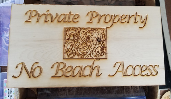 Boxed Octopus 5 X 15 Private Property Sign
