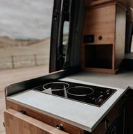 Induction cooktop in custom built camper