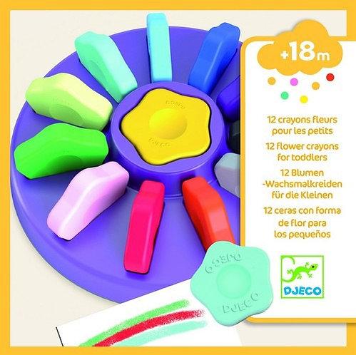 מארז 12 צבעי פרחים לקטנטנים (18 חודשים ומעלה) מבית DJECO
