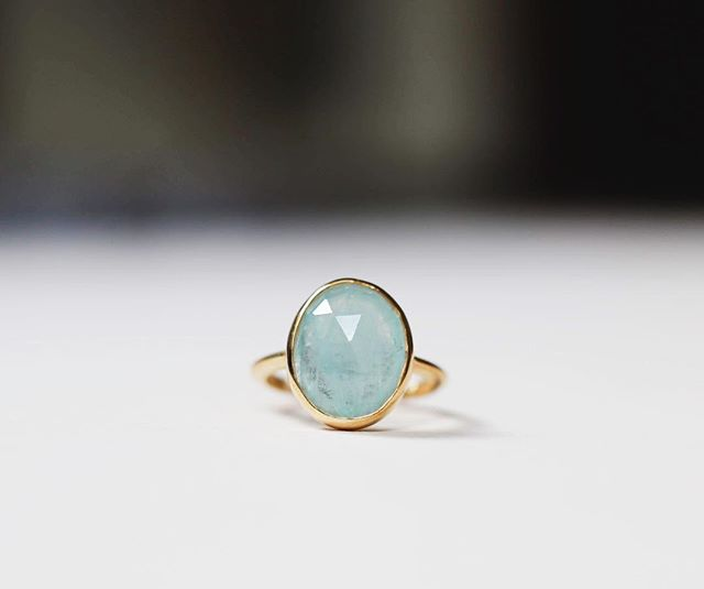 The finished rose cut Aquamarine ring