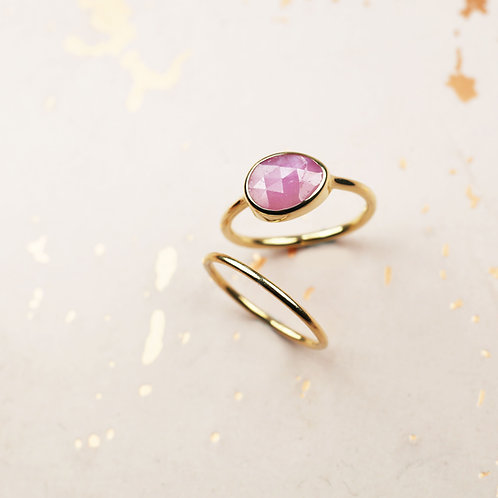 Pink sapphire rose cut ring in 9ct gold
