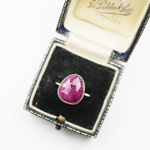 Large pear shape rose cut Ruby ring
