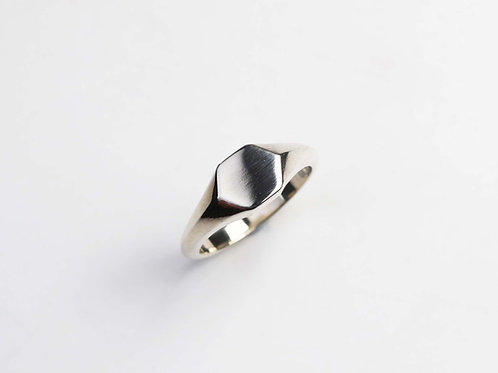 Mini silver Hex signet ring