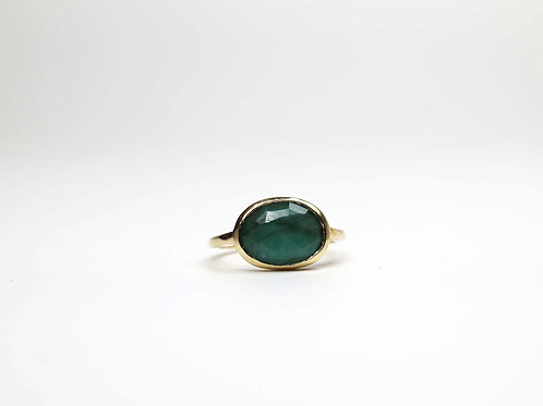 A rose cut emerald ring in 9ctgold