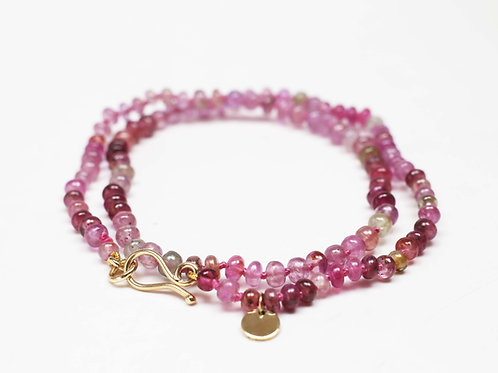 9ct gold and Pink Sapphire necklace