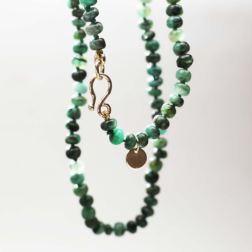 9ct gold and Emerald bead necklace